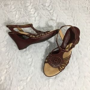 Sofft Strappy Leather Sandals Cutout Wedge Wine 7M